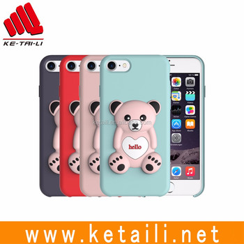 Fancy 3D bear oem liquid silicone mobile phone cellphone case cover for iPhone 7 plus
