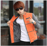 Z10439A Korea young men's casual coat cotton padded warm light weight bodycon coat
