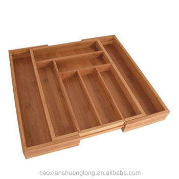 Totally Bamboo Large Expandable Cutlery Tray & Drawer Organizer, 8 Compartments, 2 with Adjustable Dimensions, Beautiful and Dur