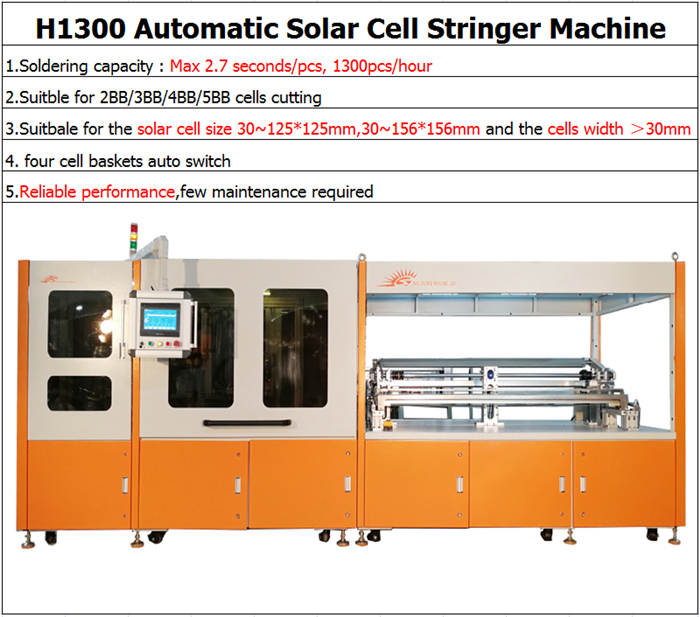 SUNNYWORLD H1300P full automatic solar cell string and lay up integrated machine for 3 4 5 6 busbar solar cell