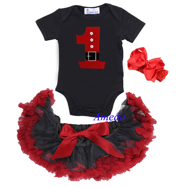 Baby Black Red Tutu Pettiskirt 1st Santa Birthday Dress Bodysuit Romper Bow 3pcs NB-6M