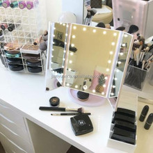 tri-folding vanity led lighted makeup / rotating table standing mirror