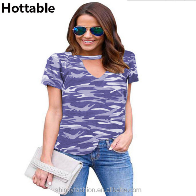 2018 Women Summer V-neck Camouflage Halter Short Sleeve T-shirt