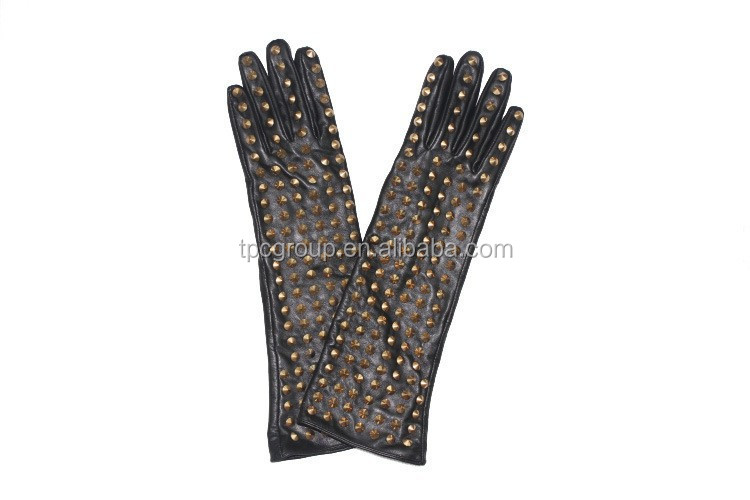 Ladies leather glove fashion leather gloves long