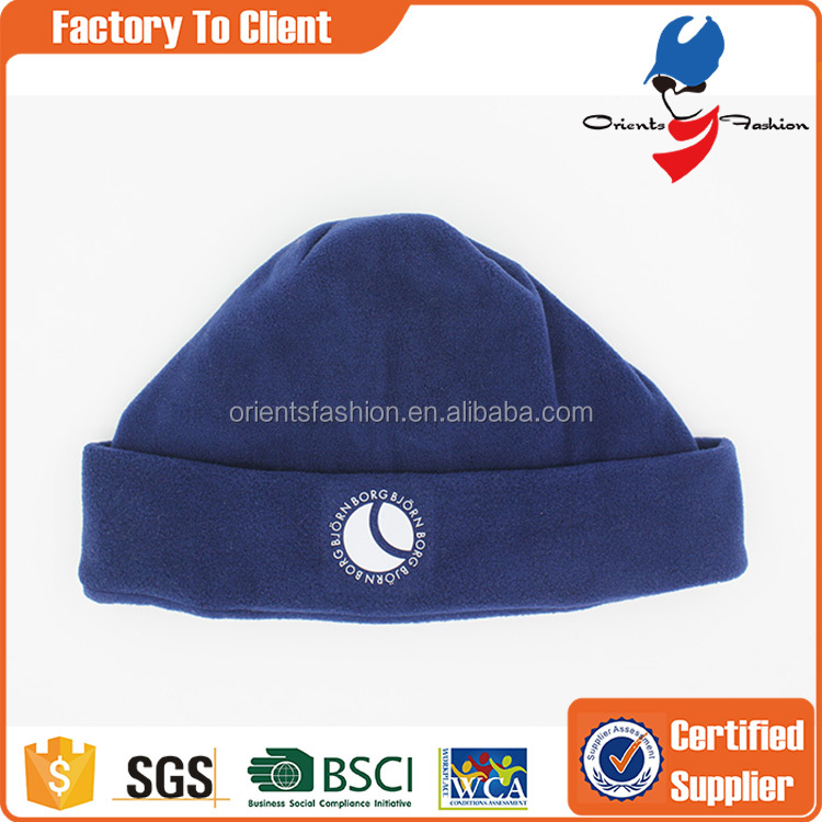 applique plain polar fleece beanie winter hat
