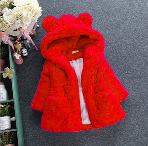 2018 new girls autumn winter coat fur coat thickened rabbit ear sweater girl's velvet jacket warm coat