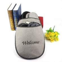 Grey color felt fabric soft fur house slipper set family