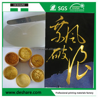 Two-component metalic gold and silver silicone for cotton t-shirt screen printing