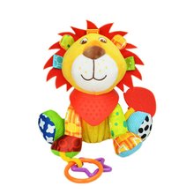 Cartoon Animal Organic Cotton Plush Toys Baby Teether Stuffed Lion Toy