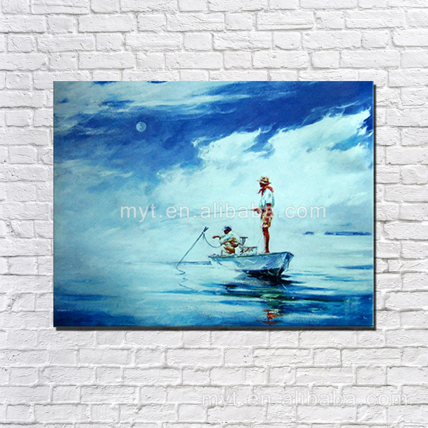 Fishing man the handmade pictures of boat beautiful blue sea canvas art home decorating boat on the beach oil painting