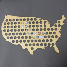 2018 New Arrival Creative Design Poplar Beer 90 caps Inset Wood U.S.A Map for Wall Decorate