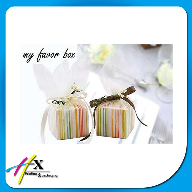 2016 romantic packaging mini colorful stripe wedding favor box
