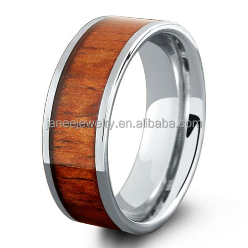 Best Sell Products Flat Pipe Hawaii Koa Wood Inlay Titanium Tungsten Wedding Band