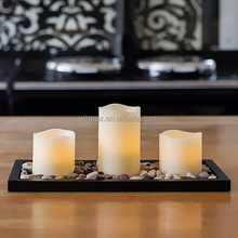 Flickering LED Flameless Candles Wave Edge Pillar Wax Candles With Tray & Cobblestones