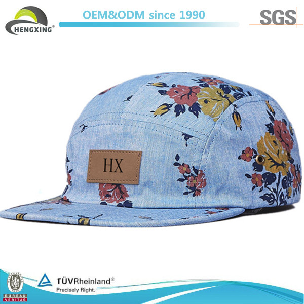 2014 New Style Floral blank wholesale 5 panel hats With Leather Label