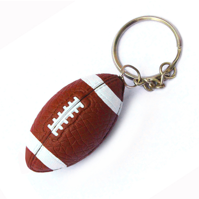 Custom Offset printing Logo rugby keychain, Mini 3D sports gym American football soccer baseball club key chain ring keyring