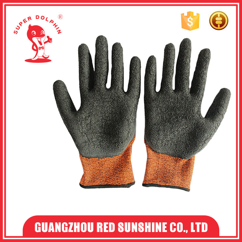 13 G crinkle latex safety polyester fibre gloves for industrial