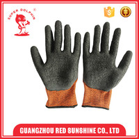 13 guage crinkle latex safety polyester fibre gloves for industrial