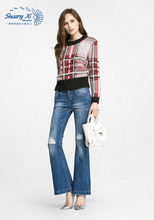AJLD-046 Fashion ladies skinny bell bottom jeans top girls sexy flare cut jeans with broken wash