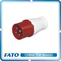 FATO IP44 16 amp 380v Hollow Brass 4 pin 3 phase Nylon Male Female Extension Industrial Electric Power Plug and Socket