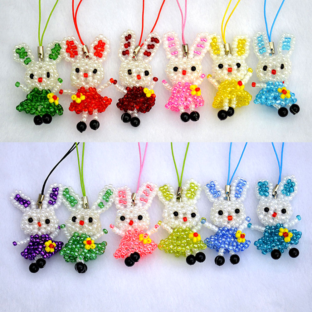 Pure hand - woven beaded dolls mobile phone pendant small ornaments animal small skirt rabbit accessories