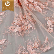 Alibaba supplier cheap price handfeel 3d heavy beaded lace fabric tulle