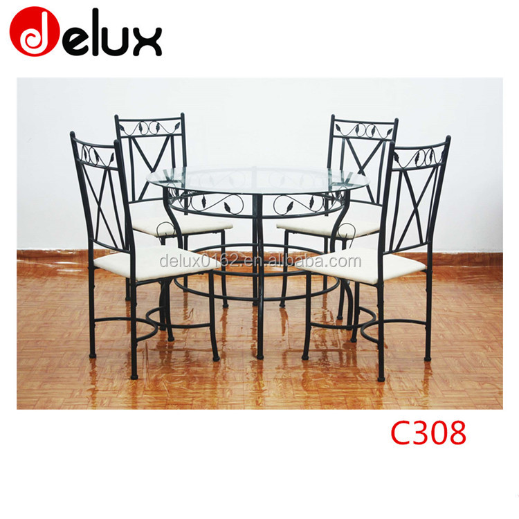 Dining tables furniture retro glass square coffee table and chairs sets C308