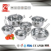 12pcs stainless steel cooking pot set for induction