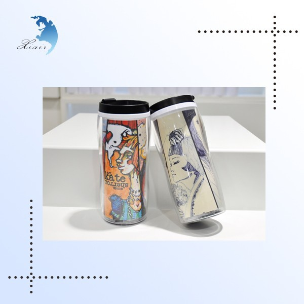 Customized plastic travel mug with full color printing wholesale