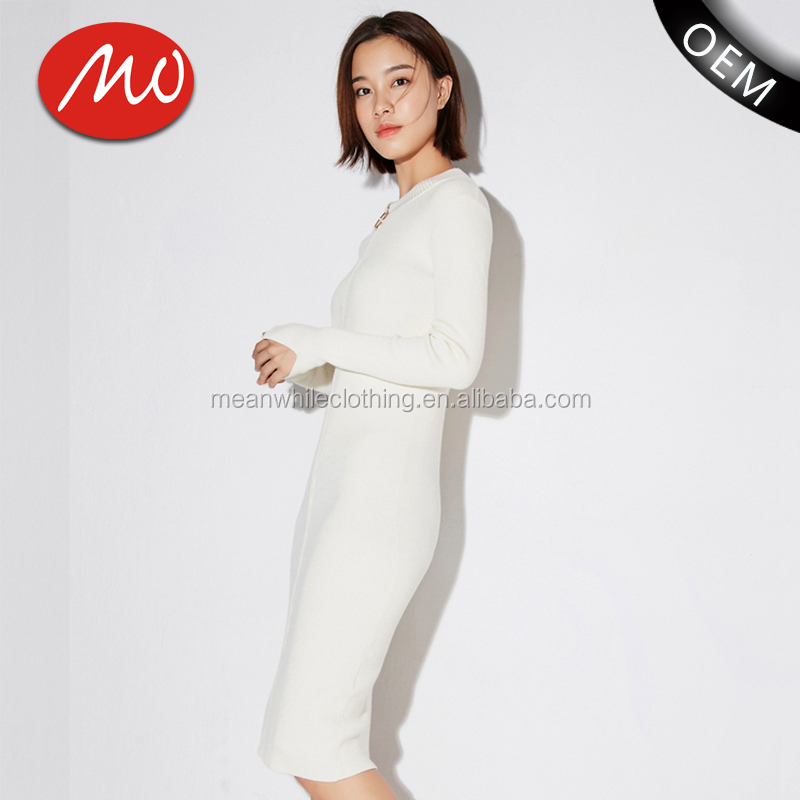 2018 Womens white party bodycon beautiful fashion sweater dress with best price