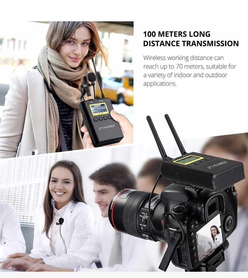 YELANGU MX2 Portable Lavalier Interview Recording Wireless Microphone for Smartphone & DSLR Cameras