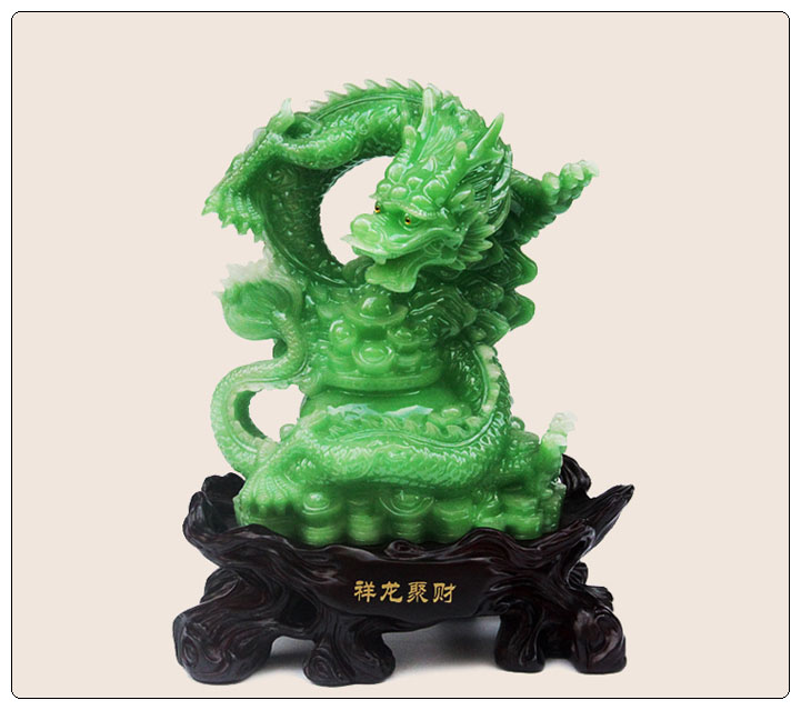 Green jade color Dragon statue , fengshui dragon figurine