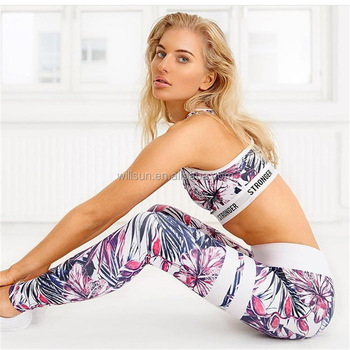wholesale floral printed unique women cheap gym workout sports wear fitness girls yoga clothing pants