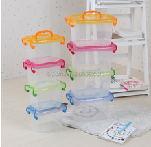 Manufacturer plastic food container with handle, Promotional storage, clear Plastic rolling storage box with lock