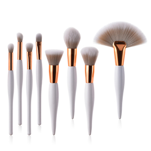 Private mold small order print logo 8piece white rose gold wood handle nylon hair makeup stout brush set
