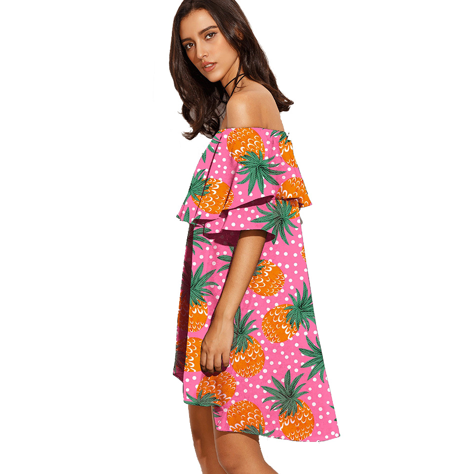 OEM/ODM small order women fashion printed off <strong>shoulder</strong> plus size dresses