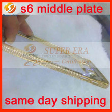 crystal diamond for samsung gold plated housing for galaxy s6 middle frame perfect testing