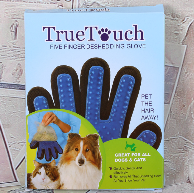 True Touch Finger Grooming Gloves Dog Deshedding Tool for Dogs and Cats