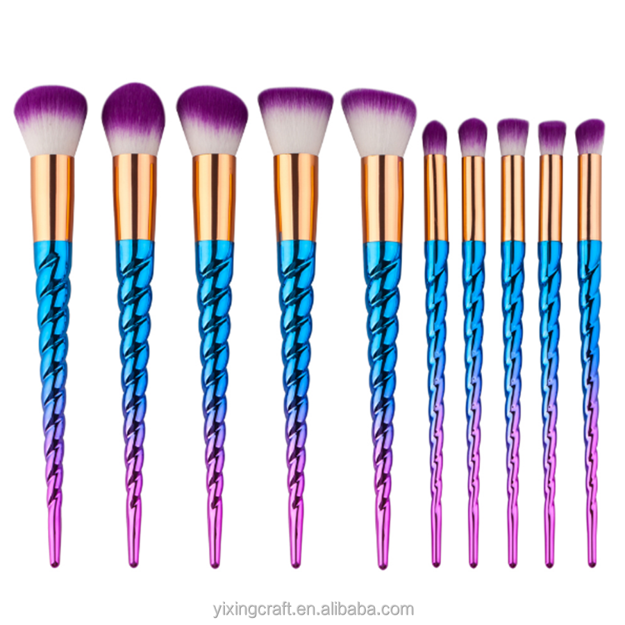2017 Hot Alibaba10pcs Rainbow Unicorn Make Up Brushes Bobbi Brown Makeup Brush Set