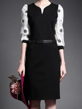 EY0419D Elegant design plain women office wear wrap dress with belt