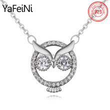 Lovely diamond 925 sterling silver Classical Owl pendant necklace best friend forever promise necklace