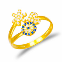 Top Quality Turkish Wholesale Fashion Bridal Gold Plated Jewelry, Evil Eye 925 Sterling Silver Ring