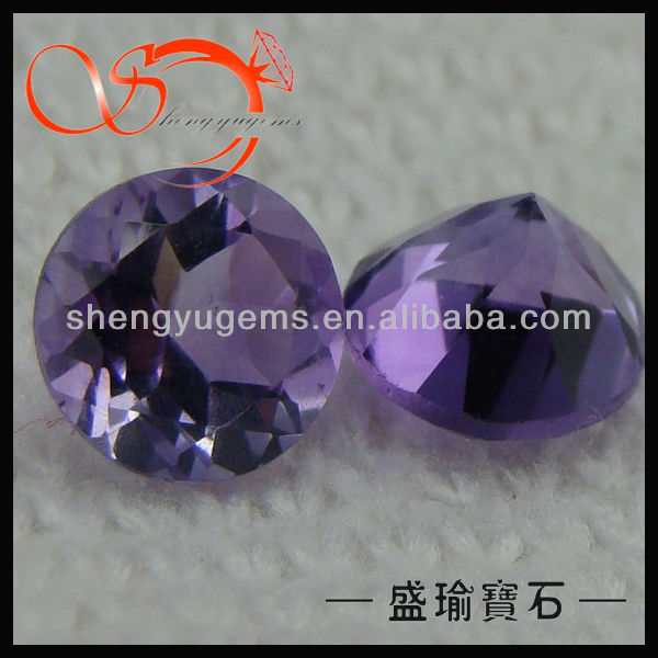 round cut loose real natural amethyst stone(AMRD-6mm)