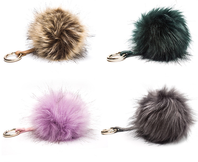High Quality Fur Bag Genuine Rex Rabbit Fur Ball Key chain