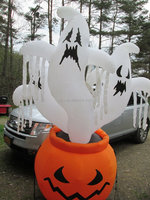 4 ft Airblown Inflatable Halloween Outdoor Decorative Pumpkin with Ghost