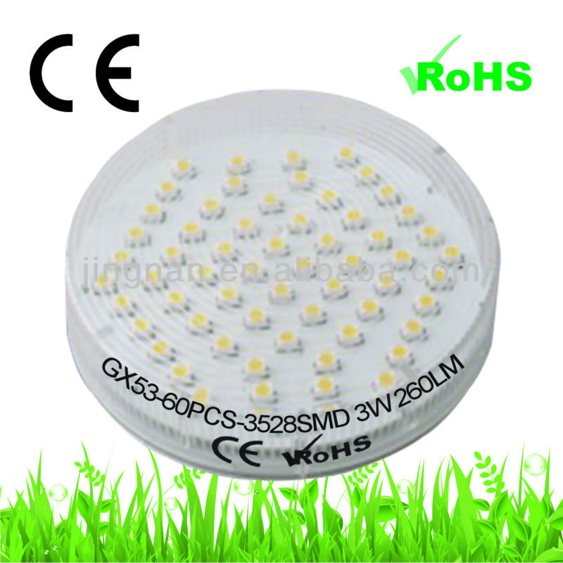 High power smd gx53 led 3w 240v lamp 120 degree 3528 60 smd