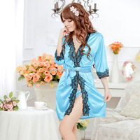 Lingerie female low-cut dress sexy dressing gown pajamas purple noble lace black border nightgown bathrobe