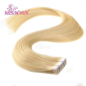 "K.S WIGS European Straight Skin Weft Hair Tape In Remy Human Hair Extensions 20"" 2.5g/s 40pcs 613# Colors"