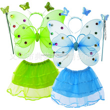 Fly wings costume 3 pieces suit butterfly party wholesale angel wings Colorful Good quality dance fairy QFW-8134