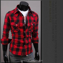 custom 100% cotton plaid shirts for men